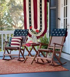 Patriotic porch ... Looks like a nice night for rocking.