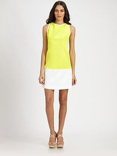 Lotusgrace - Colorblock Faille Dress