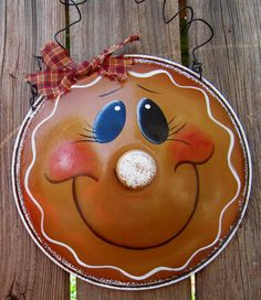 Gingerbread Girl Hand Painted Upcycled Pot Lid by PaintingByEileen, $9.50