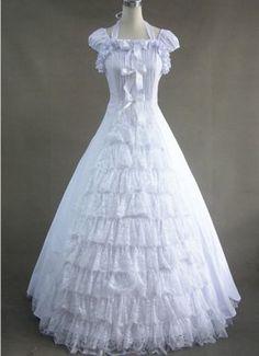 Elegant White Lace Victorian Dress Pattern....pretty