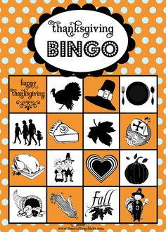 THANKSGIVING Free Printable Bingo! #free #printable #thanksgiving