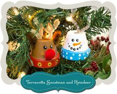 DecoArt Clay pot snowman & reindeer ornaments