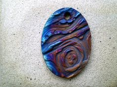 Raku Bead Oval Focal Bead Handmade Jewelry by spinningstarstudio, $3.75