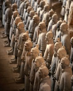 A collection of terracotta sculptures depicting the armies of Qin Shi Huang, the first Emperor of China, a form of funerary art buried with the emperor in 210–209 BC to protect the emperor in his afterlife.