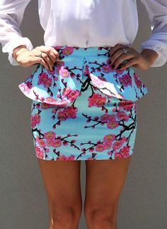 Blue Peplum Mini Skirt with Pink Cherry Blossom Print,  Skirt, mini skirt  peplum skirt, Chic