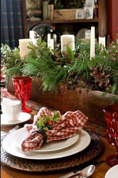 rustic christma, christma tabl, christmas table centerpieces, country christmas, rustic centerpiec, napkin, tabl set, christmas table settings, christmas tablescapes