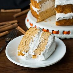 Pumpkin Angel Food Cake {Tastes of Lizzy T} (starts with Angel Food cake mix, canned pumpkin, etc and is topped with spiced whipped cream. EASY.