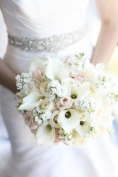 White and blush bridal bouquet: http://www.stylemepretty.com/new-york-weddings/2014/09/29/classic-wedding-by-rock-paper-scissors-events/ | Photography: Ayenia Nour - http://www.ayenianour.com/