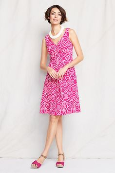 Women's Sleeveless Pattern Cotton Modal Fit and Flare Dress from Lands' End
