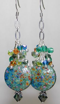 Lake Water Glass Handmade Lampwork Bead Earrings