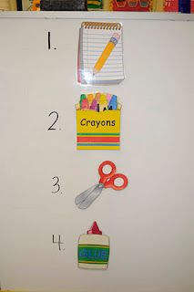 Post visual directions on your board so students know exactly what they need out on their desks!  Genius!