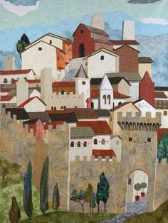 La Cittadella (The Citadel) art quilt by Sonia Bardella (Italy).  Inspired by Tuscany hill town.