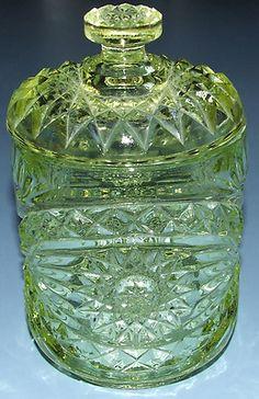 Antique Vaseline EAPG Covered Dish Biscuit Jar Fan Diamond Cut Glass Abp   eBay
