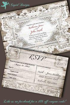 Wedding invitation and RSVP card suite, vintage printable Bridal Shower Rustic Country, vintage lace.. $35.00, via Etsy.