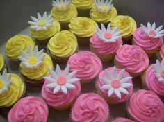 Pink and yellow cupcakes :D