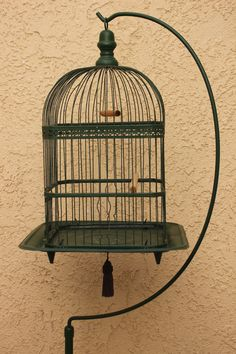 """Antique Victorian Hendryx Bird Cage Birdcage W/ Stand Painted 66 1/2"""" Tall"""