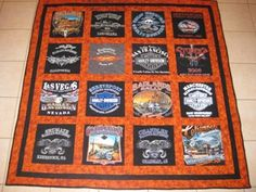 harley t shirt quilts | 16 Harley Davidson Shirts, sashing, extra wide border, marbled burnt ...