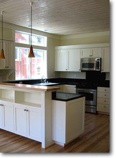 pine ceiling open kitchen