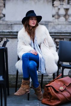 Fedora hat, fur coat, skinny jeans, biker boots and Mulberry Weekender bag - Winter outfit ideas and street style inspiration