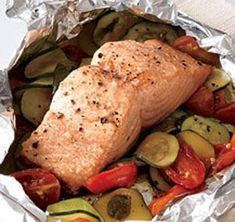 Baked Salmon with Vegetables in Tin foil: lemon, butter, salt and pepper (and any additional herbs you like). Wrap it up tightly and bake for 25 minutes at 350. Simple and delicious!