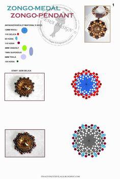 superduo-twin - rivoli 12mm Ewa gyöngyös világa!: Minta / Pattern #pendant #medallion #rivoli #twinbeads #superduo #bezel