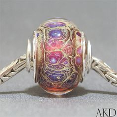 Pink & Lavender Euro Big Hole Lampwork Glass Bead by AKDlampwork, $32.00