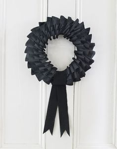 Crepe paper wreath...perfect for Halloween!