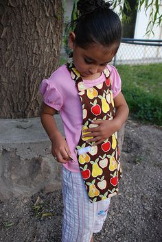 """Best kid apron EVER. So easy to make. I added a front pocket and about 5"""" in length. Kids can put it on themselves w/ velco vs. tie. I made two last night.... love!"""