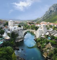 Bridge over the Neretva River in Mostar, Bosnia and Herzegovina.