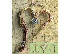 twig heart, dried flowers