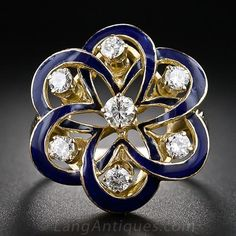 Victorian Retrospective Blue Enamel and Diamond Ring - 10-1-3825 - Lang Antiques