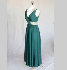 1960's Gorgeous Deep Green Dress, embellished beaded waist. $300.00, via Etsy.