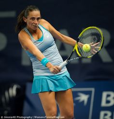 Roberta Vinci makes a funny face during a shot at the Luxembourg Open http://www.womenstennisblog.com/2014/10/15/tough-day-top-seeds-luxembourg-highlights/