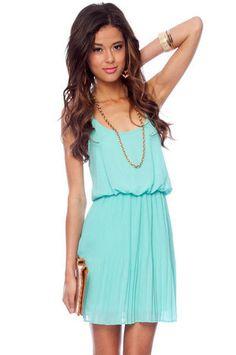 Cami Blouson Dress in Seafoam :: tobi