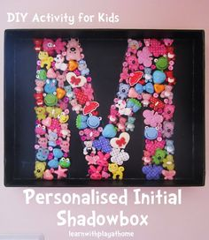 Get hands on and creative with this fun yet simple fine motor activity. Learning letters & creating cool room decor! Learn with Play at home. DIY Personalised Initial Shadow Box.