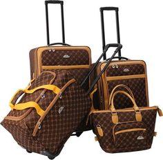 American Flyer AF Signature 4-Piece Luggage Set Chocolate Gold - via eBags.com!