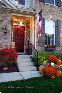 Fall decor for small porch