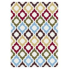 Multicolor rug with a quatrefoil trellis motif and jute backing.  Product: RugConstruction Material: Polypropylene and jute backingColor: Multi Note: Please be aware that actual colors may vary from those shown on your screen. Accent rugs may also not show the entire pattern that the corresponding area rugs have.