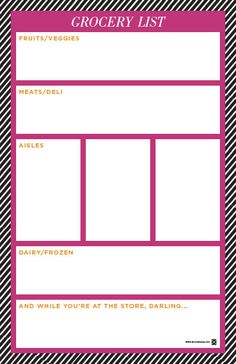 cute free printable shopping list split into categories!