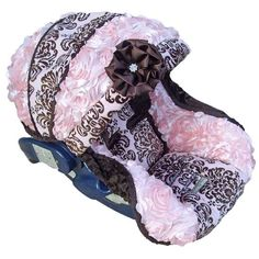 Baby Car Seat Replacement Cover Damask Rose