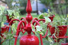 Romantic Red   Cottage Chic Planter Chandelier by nevastarr, $179.00