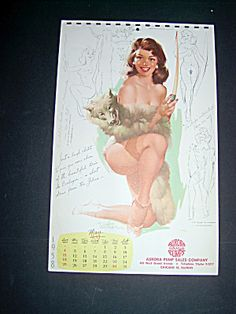Withers Pin Up Huntress, Wolves Calendar Page May 1958