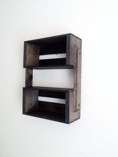 SALE Small Wooden Crate Hanging Shelf Wall Fixture- Shelves for Spice Rack, Bathroom, Decor, Kitchen, Bedroom on Etsy, $29.00