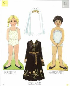 """Traditional Folk Costumes of Europe 7 of 10 KIRSTIN AND MARGARET and ICELAND 
