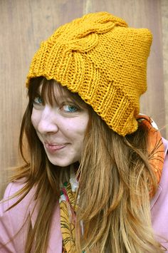 One Cabled Hat - knit pattern from Sans Limites Crochet-- more slouch!