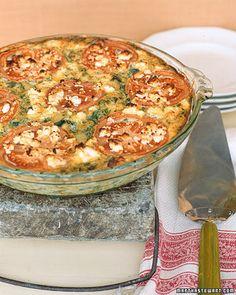 Crustless Zucchini Tomato Pie - Approx 7 g fat / 160 cal per serving.  Nutrition grade:  A