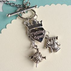 $17.00.  KNITTING QUEEN necklace.  Own it and giving it to all my knitting girls this holiday.  Love the vendor.