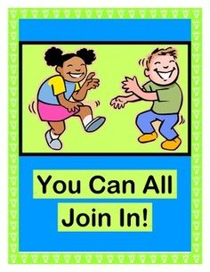 """START YOUR DAY WITH 'MOVES'!  Play """"You Can All Join In"""" and recognize everyone in your group!  Have fun with an easy rhythmic SONG-- directions included, and no musical skills needed!  """"Clap!  Stomp!  Make Chicken Wings!  Get LOUD when you Sing!""""  Use the 4 'WORDS FOR MOVING' Posters to practice those SEQUENTIAL MOVEMENTS.  Make a SHAKER CRAFT, and travel around your room!  (10 pages)  Make each kid feel SPECIAL with Joyful Noises Express TpT!  $"""