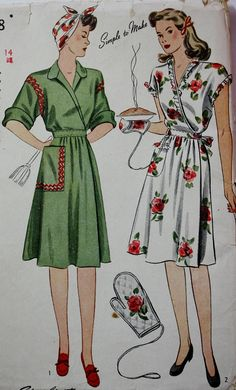 Vintage Sewing Pattern 1940s Fab 40s Wrap by BluetreeSewingStudio, $26.00