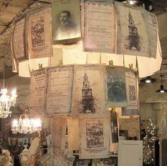 light fixtures, book, paper chandeli, paper lighting